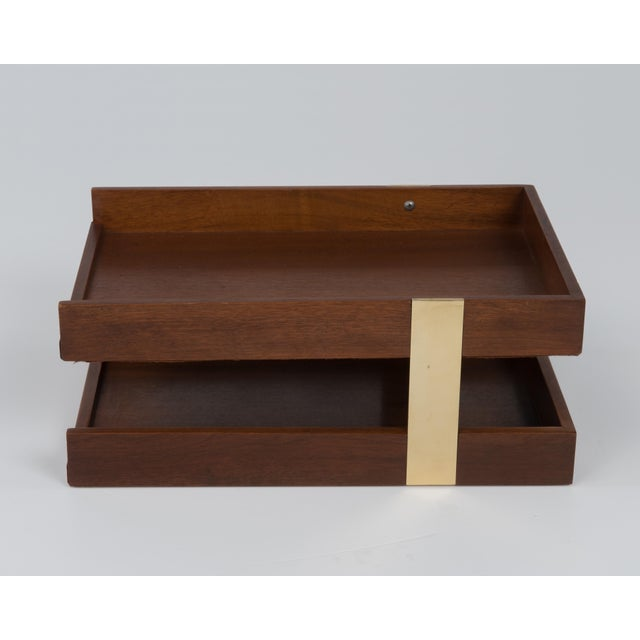 Brown Vintage Mid Century Brass Walnut Office Two Tier Letter Tray Organizer For Sale - Image 8 of 11
