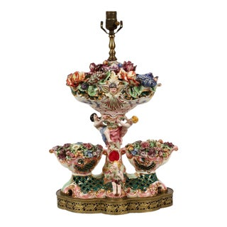 Capodimonte Italian Pottery Flowering Urn Lamps