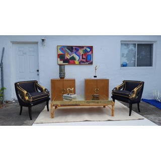 Sarreid Ltd Brass Clad and Rattan Base Rectangular Coffee Table Preview
