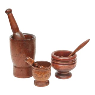 Wooden Motars & Pestles - Set of 3 For Sale