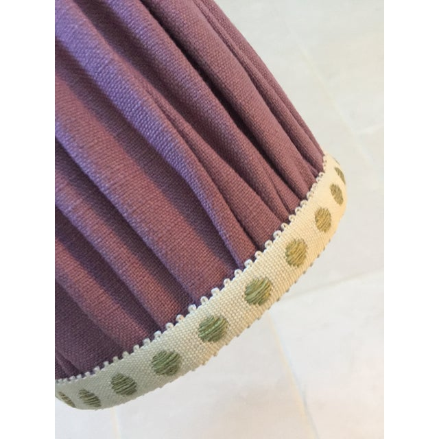 Gathered Lavender Linen Sconce Lamp Shade With Citron Dot Tape Trim For Sale - Image 4 of 7