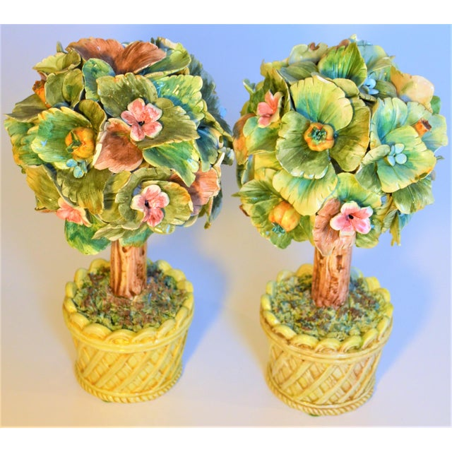 Italian Vintage Italian Majolica Topiary Trees - A Pair For Sale - Image 3 of 7