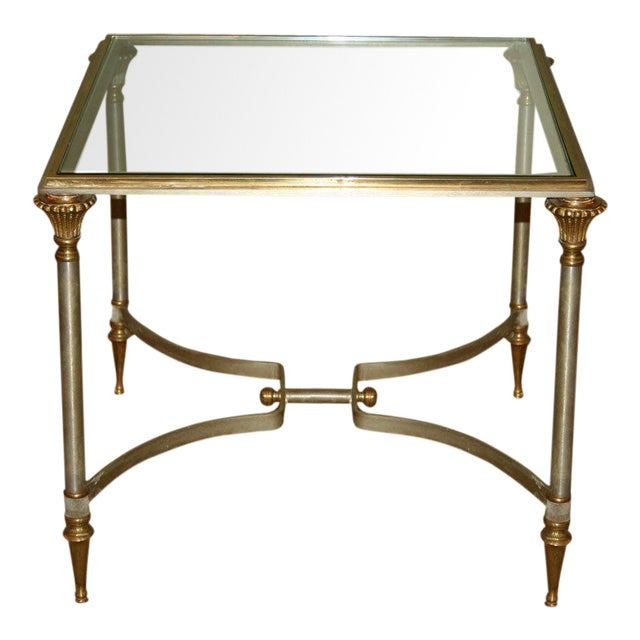 Small Italian Steel and Glass End Table - Image 1 of 11