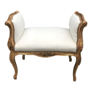 Modern Gilded Acanthus Lead Detail Accent Stool For Sale