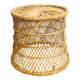 Large Vintage Cylinder Basket Stool For Sale