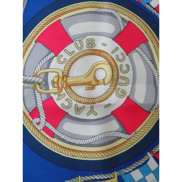Silk Vintage Gucci Nautical Silk Scarf For Sale - Image 7 of 13