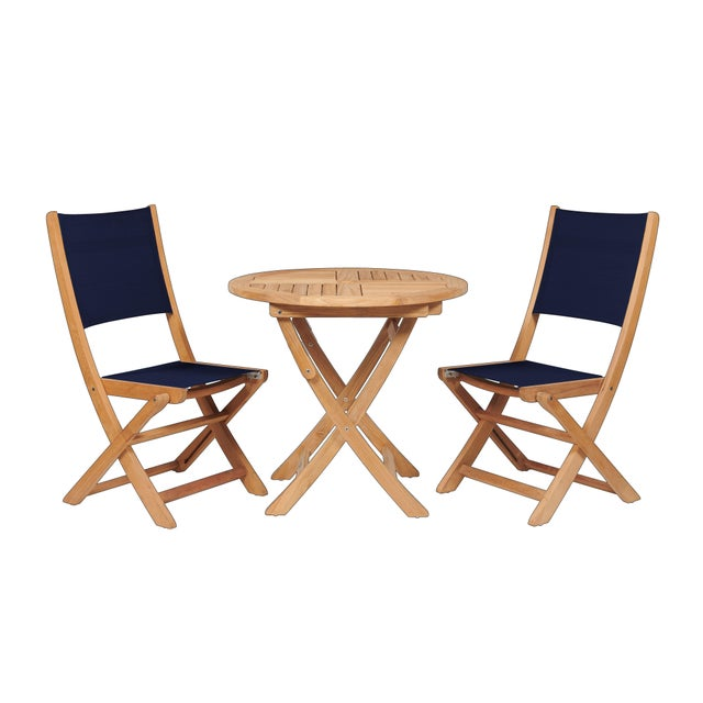 The Stella 3-Piece Teak Outdoor Bistro Set Folding Table and Chairs is great outdoor dining or a casual coffee with a...