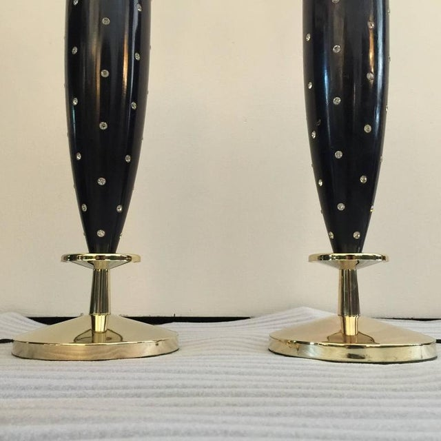 Pair of Mid-Century Rhinestone Studded Lamps by Rembrandt For Sale In Miami - Image 6 of 7