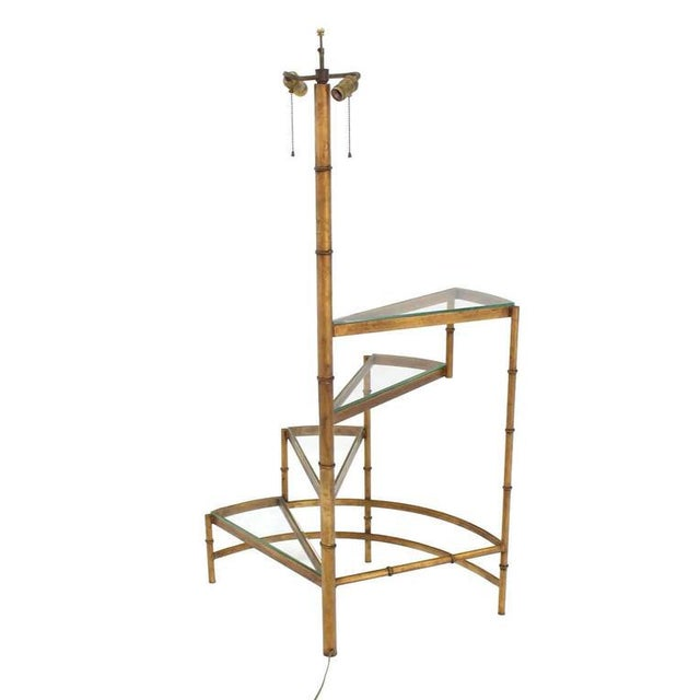 Step Shelves Faux Bamboo Gilt Base Floor Lamp For Sale - Image 9 of 9