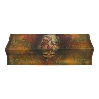 Victorian Celluloid Glove Box With Native American Chief For Sale