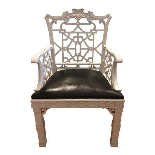 1970s Vintage Chinese Chippendale Single Chair For Sale