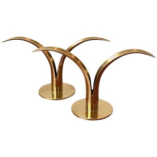 Ystad-Metall 'Liljan' Brass Candlesticks - a Pair