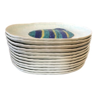 Vintage Kotobuki San Francisco Japanese Fish Plates - Set of 12 For Sale