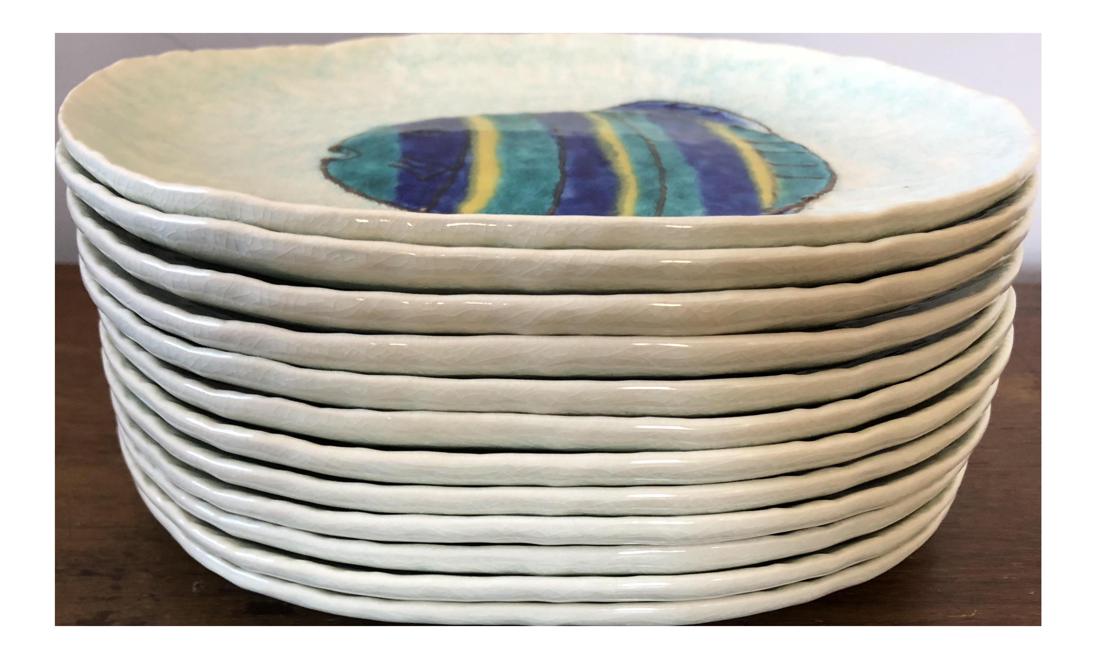 Vintage Kotobuki San Francisco Japanese Fish Plates   Set Of 12