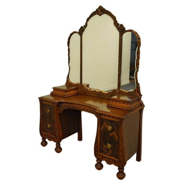 """Bassett Furniture French Regency Style 47"""" Vanity With Mirror For Sale - Image 13 of 13"""