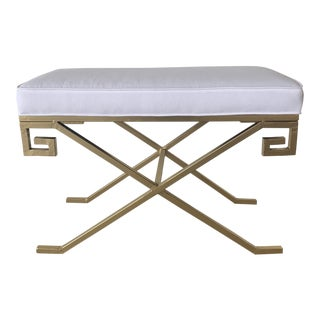 Custom Made Gold Tone Metal Base Stool For Sale