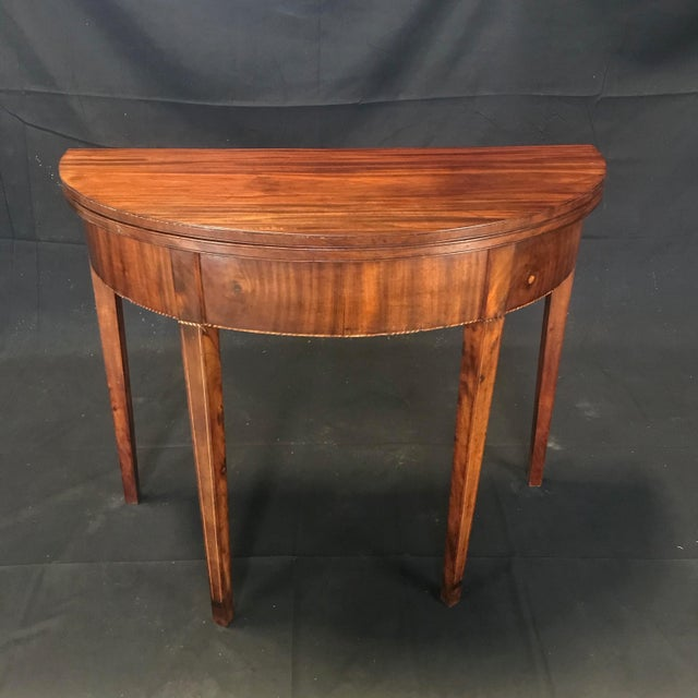 19th Century Hepplewhite Inlaid Demilune Game Table For Sale - Image 13 of 13