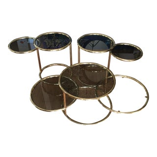 Design Institute Brass Cocktail and Side Tables - Set of 3 For Sale