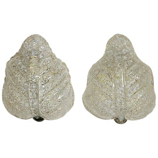 1950s Italian Murano Glass Leaf Shape Wall Sconces - a Pair For Sale