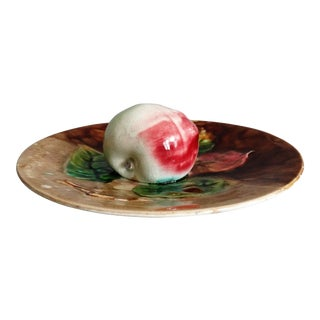 19th Century French Majolica Apple Wall Plate For Sale