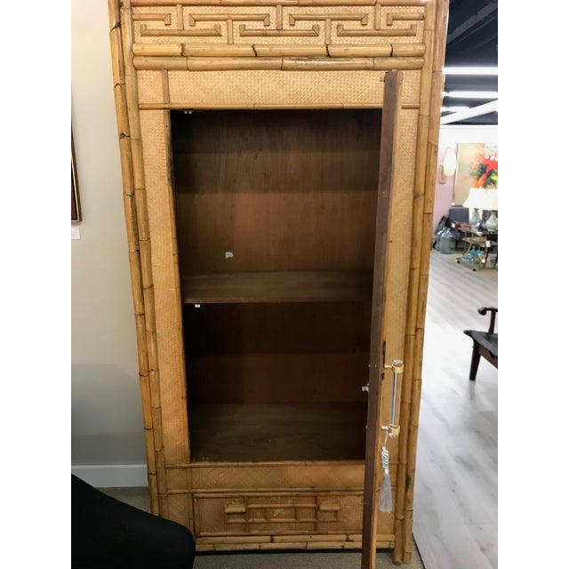 Vintage Rattan Bamboo Armoire Cabinet With Lucite And Brass Handle - Image 7 of 11