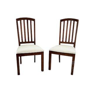 Stanley Mission Style Pair of Solid Oak Side Dining Chairs For Sale
