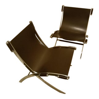 Mid-Century Modern Style Leather Sling & Chrome Chairs - a Pair