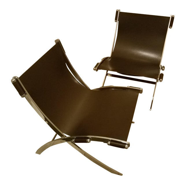 Mid-Century Modern Style Leather Sling & Chrome Chairs - a Pair For Sale
