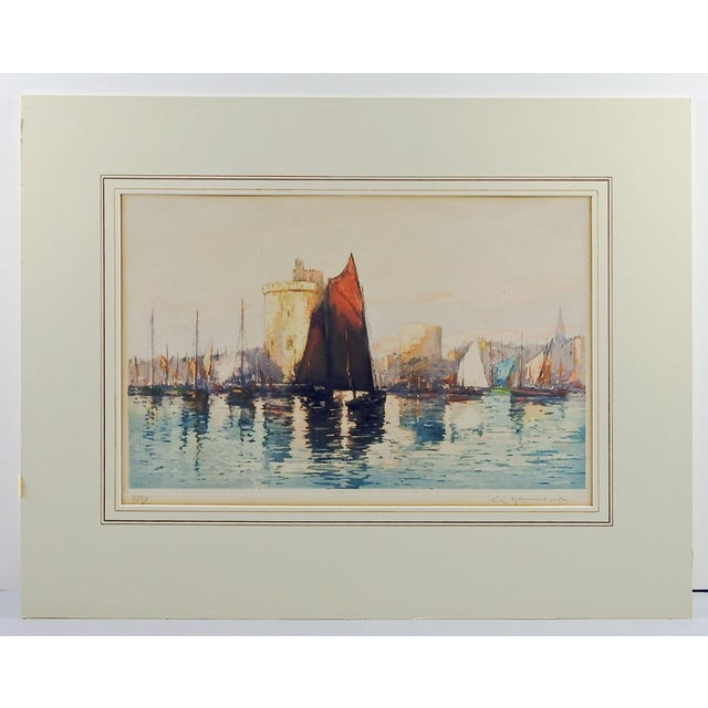 French Harbor Etching For Sale - Image 5 of 5