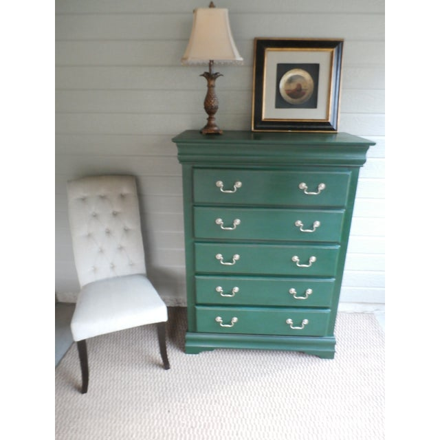 This gorgeous refurbished dresser was hand painted, light distressed then sealed with clear and dark wax. It features five...