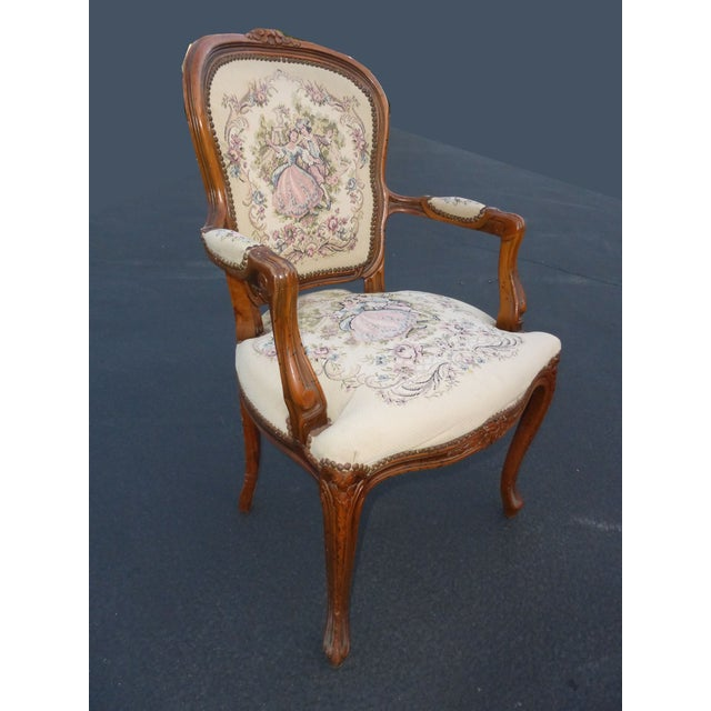French Country French Provincial Tapestry Ornate Carved Arm Chair For Sale - Image 3 of 10
