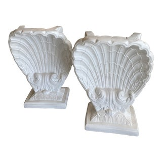 Vintage Lacquered Plaster Seashell Scallop Shell Dining Table Console or Desk Bases - a Pair For Sale