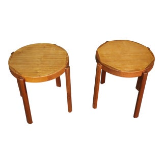 Signed Mid-Century Danish Nesting Side Tables - Set of 2 For Sale