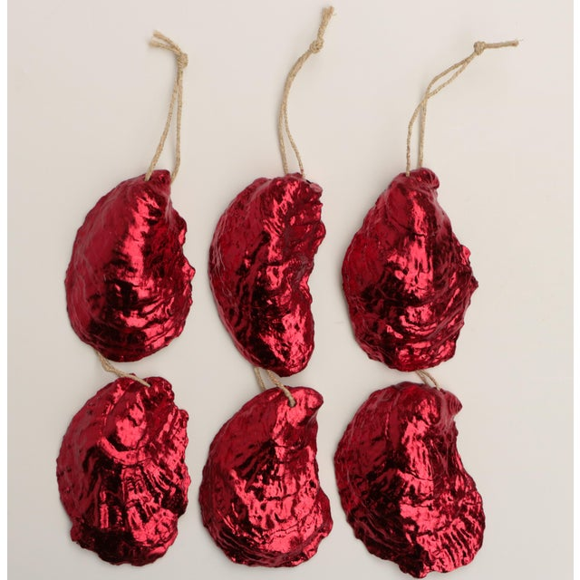 Red Red Gilded Oyster Shell Ornaments, Set of 6 For Sale - Image 8 of 8