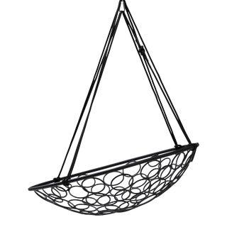 Basket Circled Pattern Hanging Chair - Black For Sale