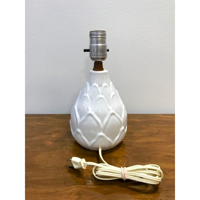 Vintage Small Mid Century White Artichoke Table Lamp For Sale - Image 4 of 7