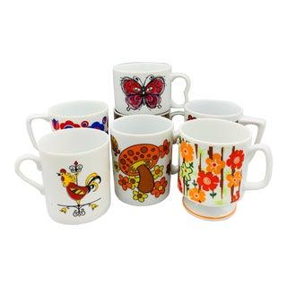 1960s Vintage Mismatched Ceramic Pedestal Cups - Set of 7 For Sale
