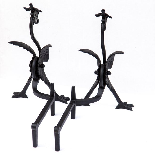 Late 19th Century Pair of Bradley & Hubbard Phoenix Andirons, 1896 For Sale - Image 5 of 12