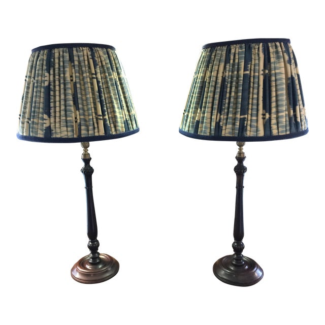 Vintage Turned Wood and Brass Lamps With Hand Made Silk Ikat Shades - a Pair For Sale