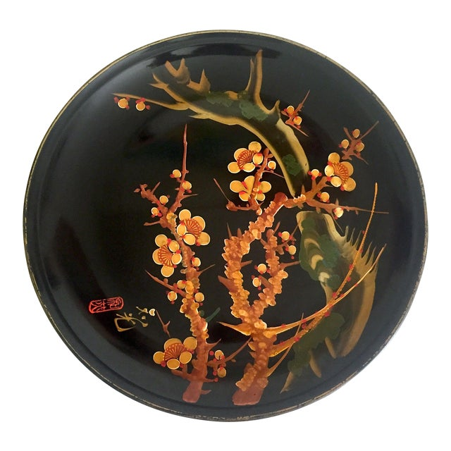 Vintage Mid Century Japan Hand Painted Flower Branch Blossoms Large Round Lacquer Tray Platter For Sale