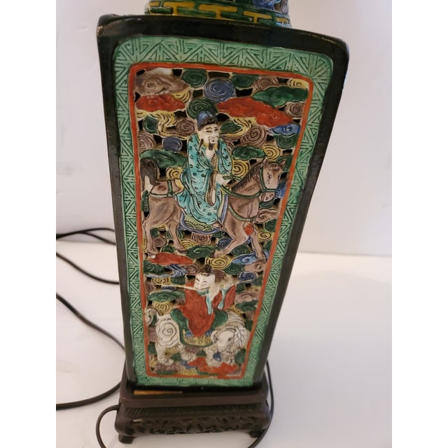 1940s Figural Asian Table Lamp For Sale - Image 5 of 8