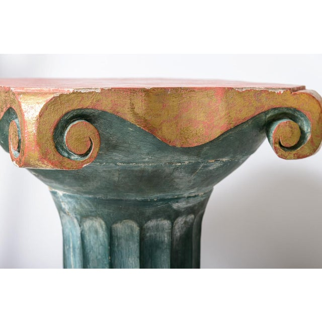 Polychromed Wood Roman Fluted Columns Pillars Pedestal Stools, A-Pair For Sale - Image 10 of 12