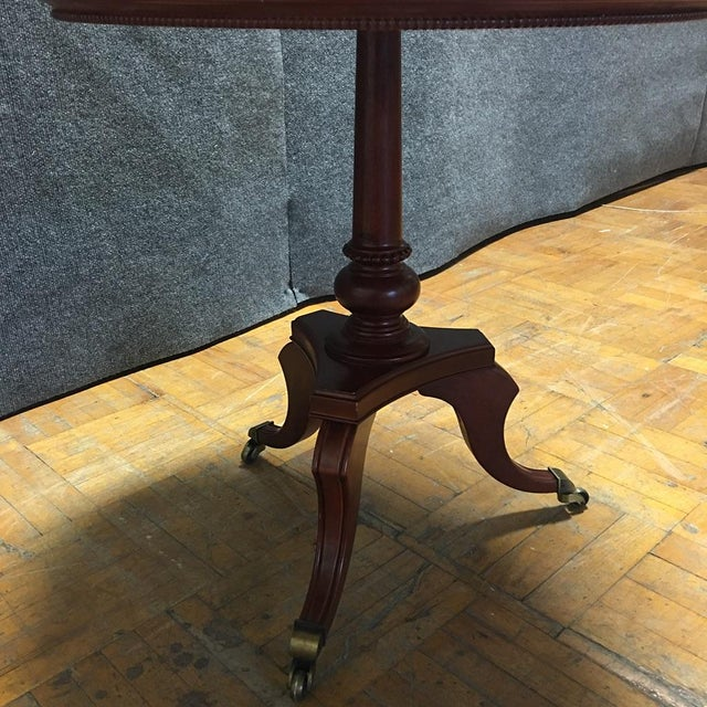 Traditional Cherry-Wood Drum Table W/ Brass Casters - Image 5 of 8
