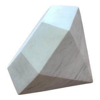 Kelly Wearstler White Carrera Marble Diamond Sculpture