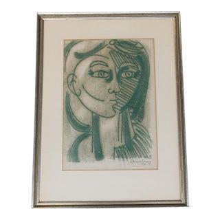 1959's Block Print by Bernardo Navarro For Sale