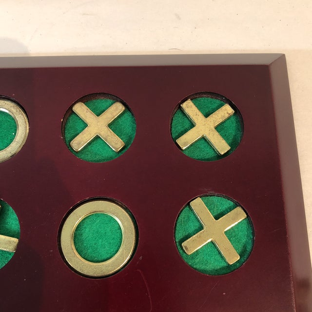 Vintage Cherry Wood & Brass Tic Tac Toe Set - Image 3 of 11