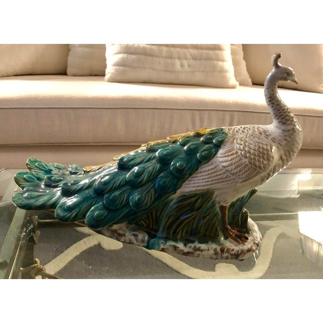 Green Chinoiserie Porcelain Peacock Figurine For Sale - Image 8 of 8