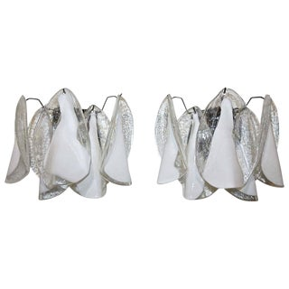 1960s Hollywood Regency Murano Mazzega White Petal Shape Glass Sconces - a Pair