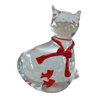 Vintage Murano Art Glass Cat For Sale