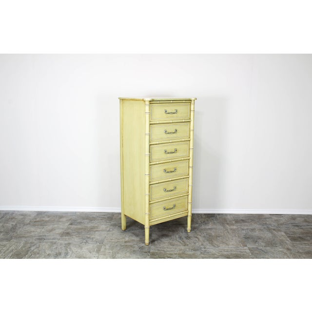 Henry Link Mid Century Canary Yellow Faux Bamboo Lingerie Chest For Sale - Image 4 of 7
